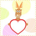 Xmas rudolph deer holding heart card for text Royalty Free Stock Photography
