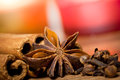 Xmas spices cinnamon anise and cloves close up Stock Photo