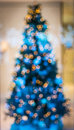 Xmas tree with blur at night Stock Photo