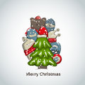 Xmas tree christmas day greeting card with and monsters Royalty Free Stock Images