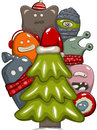 Xmas tree christmas day greeting card with and monsters Stock Photography