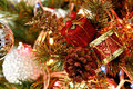 Xmas tree closeup of ornaments on Royalty Free Stock Photography