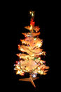 Xmas tree in the dark night christmas decorations Stock Image