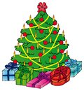 Xmas tree with gifts Royalty Free Stock Images