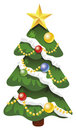 Xmas vector decorated tree Royalty Free Stock Photo