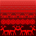 Xmas winter pattern red snowflake and red deer Stock Photography