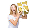 Xmas woman guess the present in box Royalty Free Stock Photo