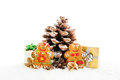 Xmass cookies christmas gingerbread decor gifts presents by hudge pine cone christmas tree isolated on white background Stock Photo