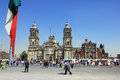 Xocalo mexico city february people walk on the street on plaza de la constitucion called also zocalo in front of cathedral Royalty Free Stock Images