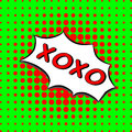 Xoxo - Comic Text, Pop Art style. green and red dotted halftone background. Vector love hugs and kisses message.