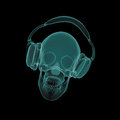 Xray skull with headphones dj in isolated on a black background effect Stock Photography