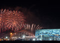 Xxii olympic winter games closing ceremony sochi russia february fireworks above park at Stock Photo