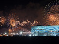 Xxii olympic winter games closing ceremony sochi russia february fireworks above park at Stock Photography