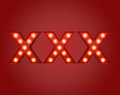 Xxx adboard glowing lights ready for adult content material Stock Photo
