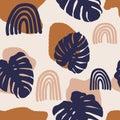 Monstera seamless pattern, terra cotta art print, abstract modern painting Royalty Free Stock Photo