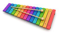 Xylophone creative abstract percussion musical instrument and music art creation concept colorful rainbow wooden with two wood Stock Photography