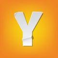 Y capital letter fold english alphabet New design