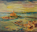 Y colorful sunset at the sea coast an oil painting on canvas of a seaside scene with boats docked in harbor and yellow over small Royalty Free Stock Images