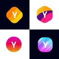 Y letter vector company icon signs flat symbols logo set Royalty Free Stock Photo