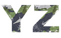 Y z alphabet from military fabric texture on white background Royalty Free Stock Image