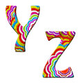 Y,Z, Colorful wave font illustration. Stock Photography