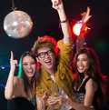 Ya that�s cool excited young people dancing in the nightclub together Royalty Free Stock Image