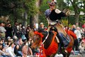 Yabusame mounted archery a japanese archer on a running horse shooting an arrow at the kamakura festival Royalty Free Stock Photo