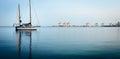 Yacht on Aarhus Bay, Denmark Royalty Free Stock Photo