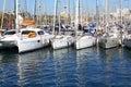 Yacht anchorage big sailboat at mediterranean sea Stock Photos