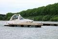 Yacht anchored at marina. Royalty Free Stock Photo
