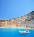 Yacht anchored at Porto Katsiki beach Stock Image