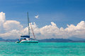 Yacht in the andaman sea near coast of krabi Royalty Free Stock Images