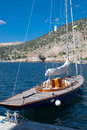 Yacht in bay summer day balaklava famous foreland on south shore of crimea resort ukraine Stock Images