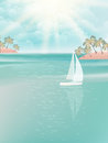 Yacht and blue water ocean eps vector file included Stock Photos