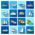 Yacht, boat, liner, types of ship and water transport. Ship and water transport set collection icons in flat style