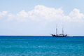 Yacht boat sailing on blue sea copy space background Royalty Free Stock Image