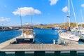 Yacht boats in Caribbean style Puerto Calero marina Royalty Free Stock Photo