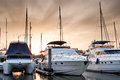Yacht and boats at the marina in the evening Royalty Free Stock Photo