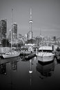 Yacht club in toronto with modern buildings and canadian tower as background Stock Photography