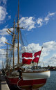 Yacht danish flag berthed copenhagen port Stock Photography