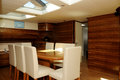 Yacht Dining Area Interior - Skylight - Family_Friends Royalty Free Stock Photo