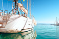 Yacht docked in the marina sailing background horizon Stock Image