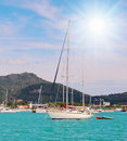 Yacht en mer ouverte Photo stock