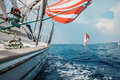 Yacht fights with an opponent in the sea Royalty Free Stock Photo