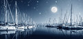 Yacht harbor at night beautiful landscape of full moon marina in bright moonlight luxury water transport in nighttime vacation Stock Images