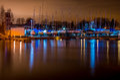 Yacht harbor at night Royalty Free Stock Photo