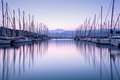 Yacht harbor in sunset Royalty Free Stock Photo