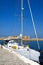 Yacht in the harbour, Chania.