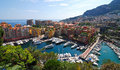 Yacht harbour city at the mediterranean sea southern france aerial view monaco Royalty Free Stock Photos
