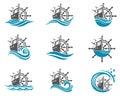 Yacht helm wheel set